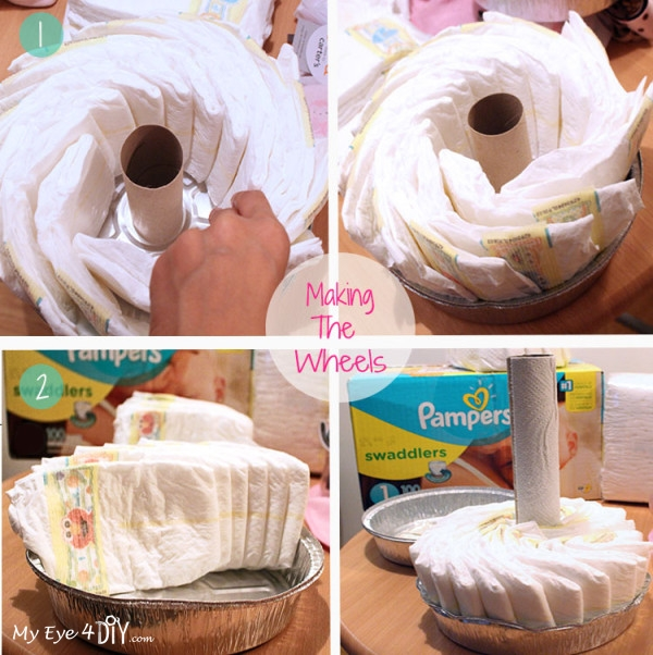 Making the Wheels on the tricycle diaper cake