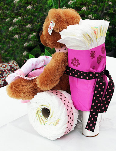 tricycle diaper cake with teddy bear