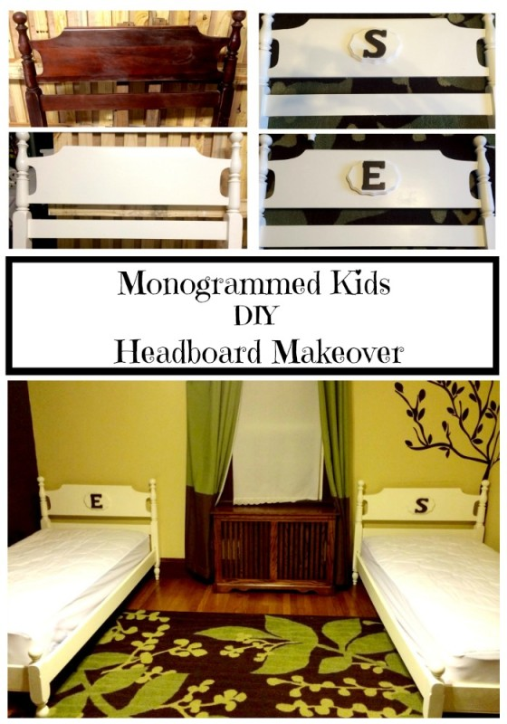 Monogrammed Kids DIY Headboard Makeover Pinterest