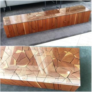 DIY Wood log Patio table