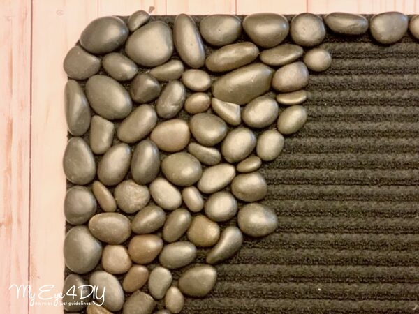 DIY doormat with river rocks