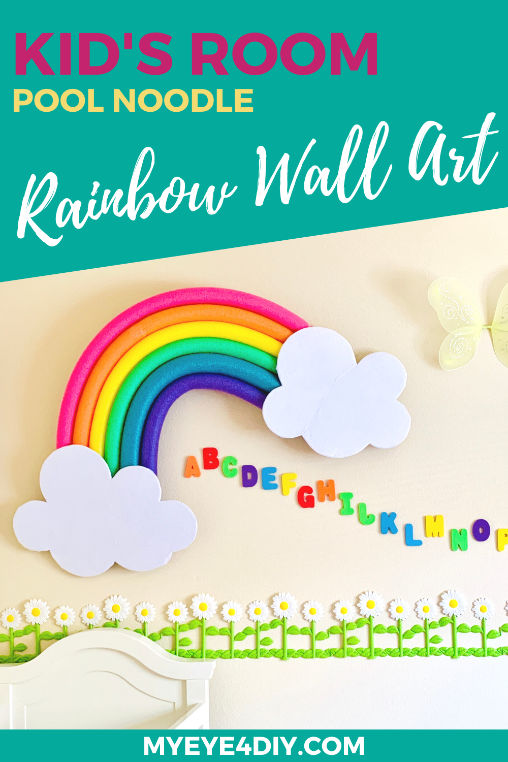 Pool Noodle Hacks - Rainbow Wall Art (1)